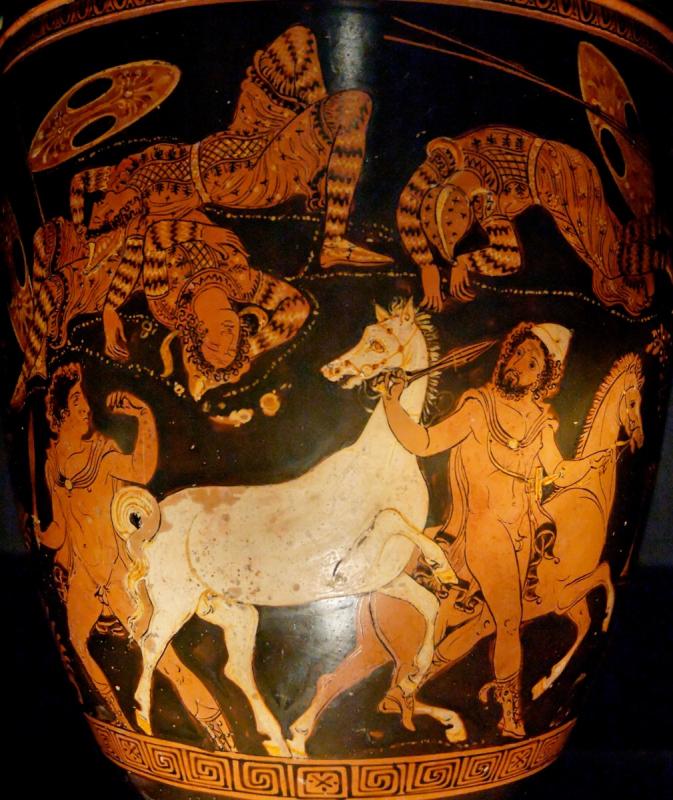Одиссей и Диомед крадут коней убитого ими Троянского царя Реса. Краснофигурная роспись на ситуле, 360 год до н. э.