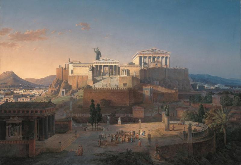 Афинский акрополь, реконструкция Лео фон Кленце 1846 года (над акрополем возвышается статуя Афины Промахос)