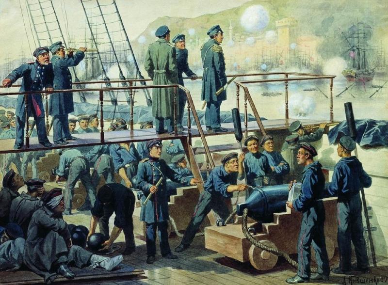 """Кившенко. «Палуба линейного корабля """"Императрица Мария"""" во время боя при Синопе». 1853"""