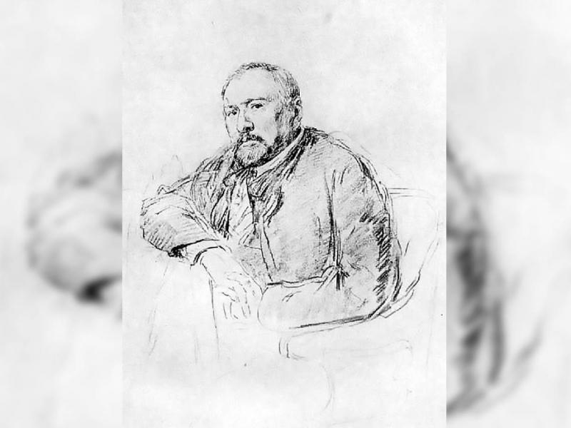 Н. С. Лесков. Рисунок И. Е. Репина, 1888—1889 гг.