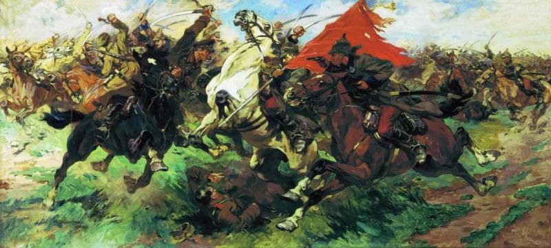 Н. Самокиш. «Бой за знамя. Атака».1922