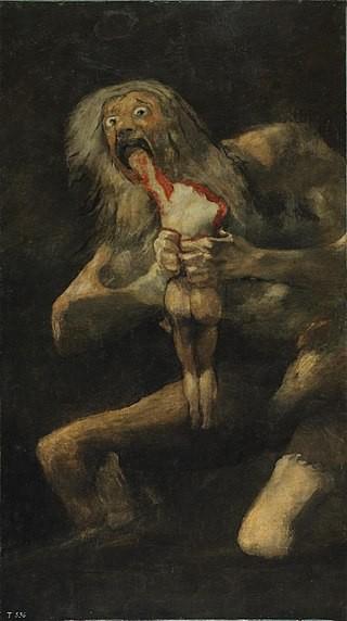 Одни из самых известных картин Гойи: «Сатурн, пожирающий своего сына» (1819—1823)...