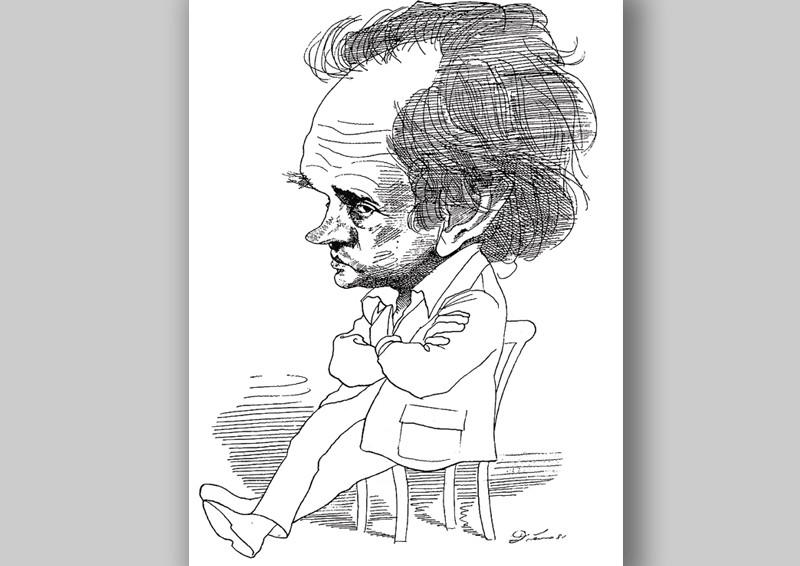 Шарж на Александра Зиновьева, сделанный Д. Левиным и опубликованный в Journal de Geneve