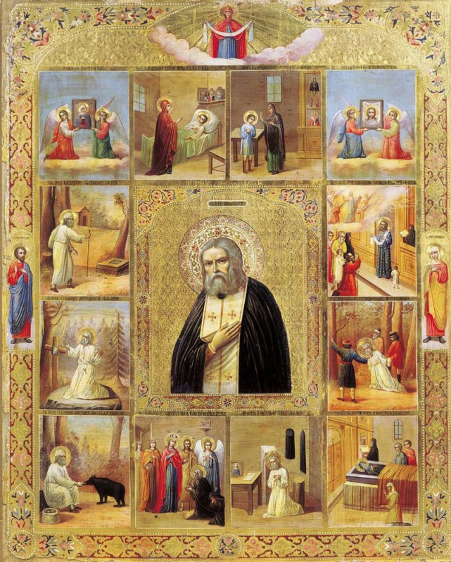 Серафим Саровский с житием (икона начала XX века)