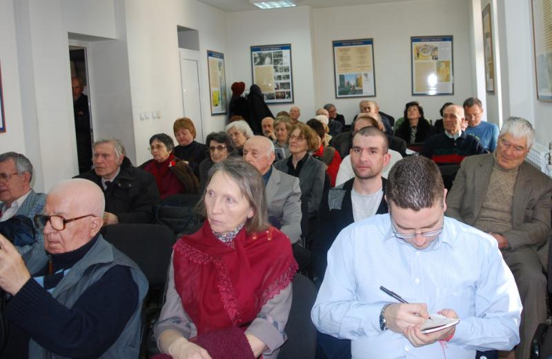 Встреча с журналистами в зале Союза журналистов Болгарии.