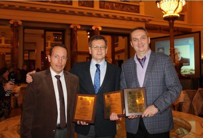 На церемонии вручения премии имени Ю. С. Семенова за книгу «Роман Ким» с Игорем Храмовым и Сергеем Медведевым