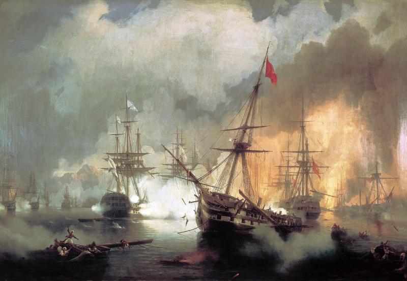 Айвазовский. «Наваринский бой». 1846